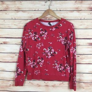 H&M Floral Pullover Sweatshirt Long Sleeve Red M
